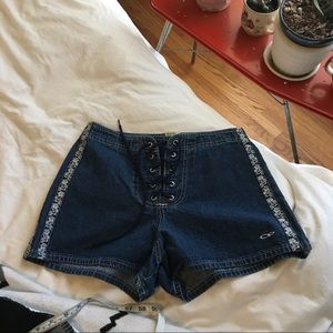 Vintage 90s OP Lace up Denim Shorts